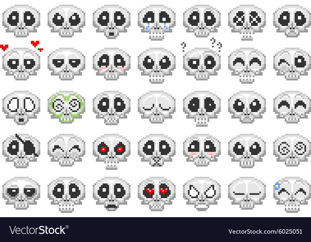 Pixel skull smiley icons set vector