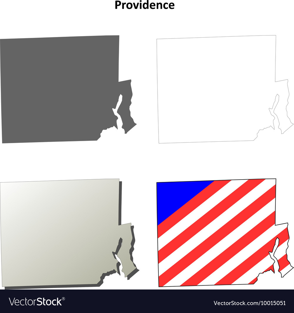 Providence map icon set vector