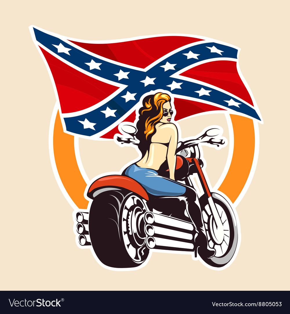 Bikers club emblem with girl on a motorcycle vector