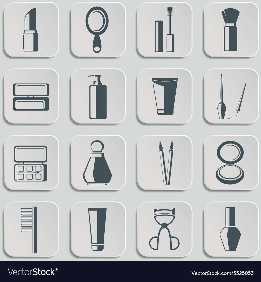 Cosmetics icons set on gray vector