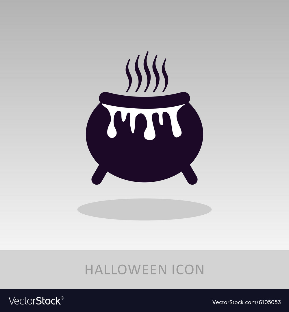 Halloween witch cauldron icon vector