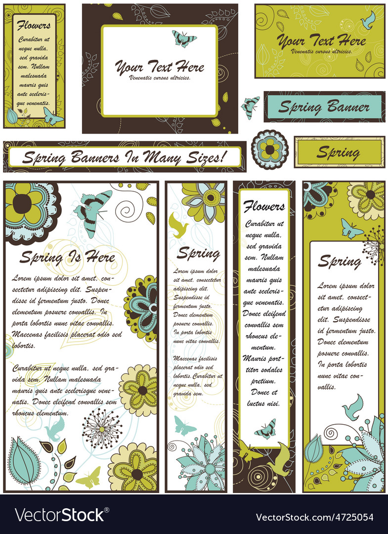 Set of floral banners and adverts in many vector