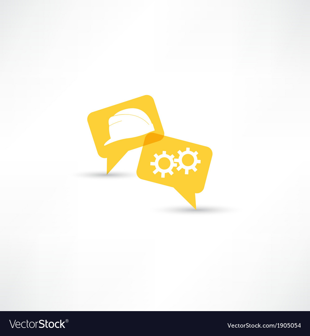 Working and helmet in bubble speech vector