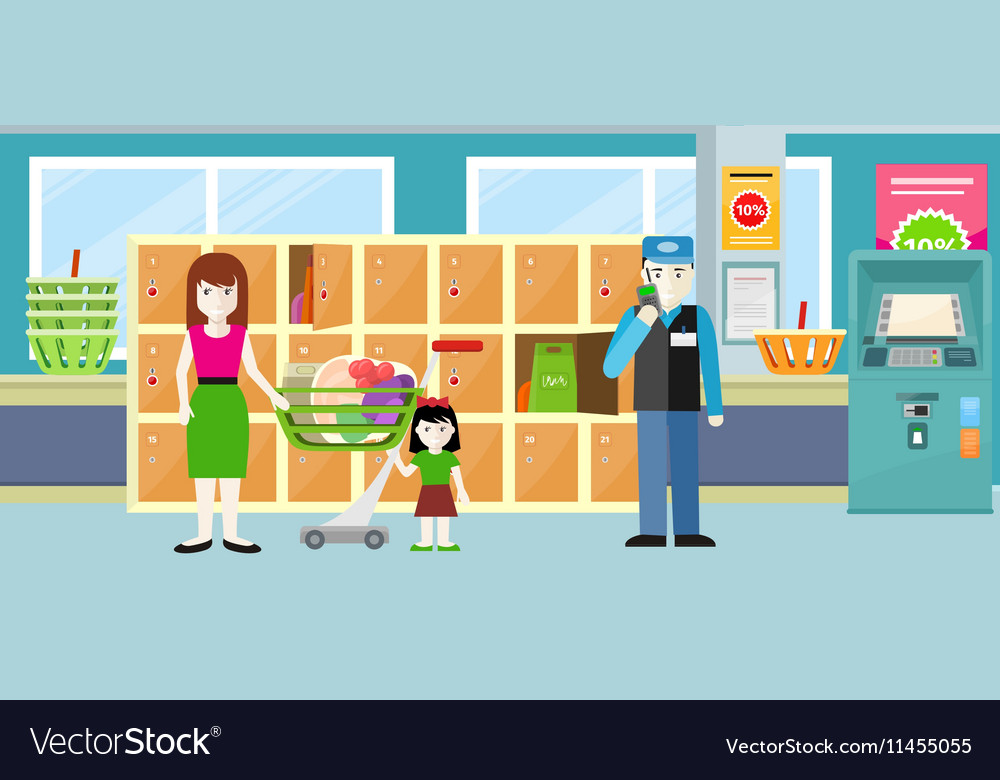 Buyers standing near storage shelf in supermarket vector