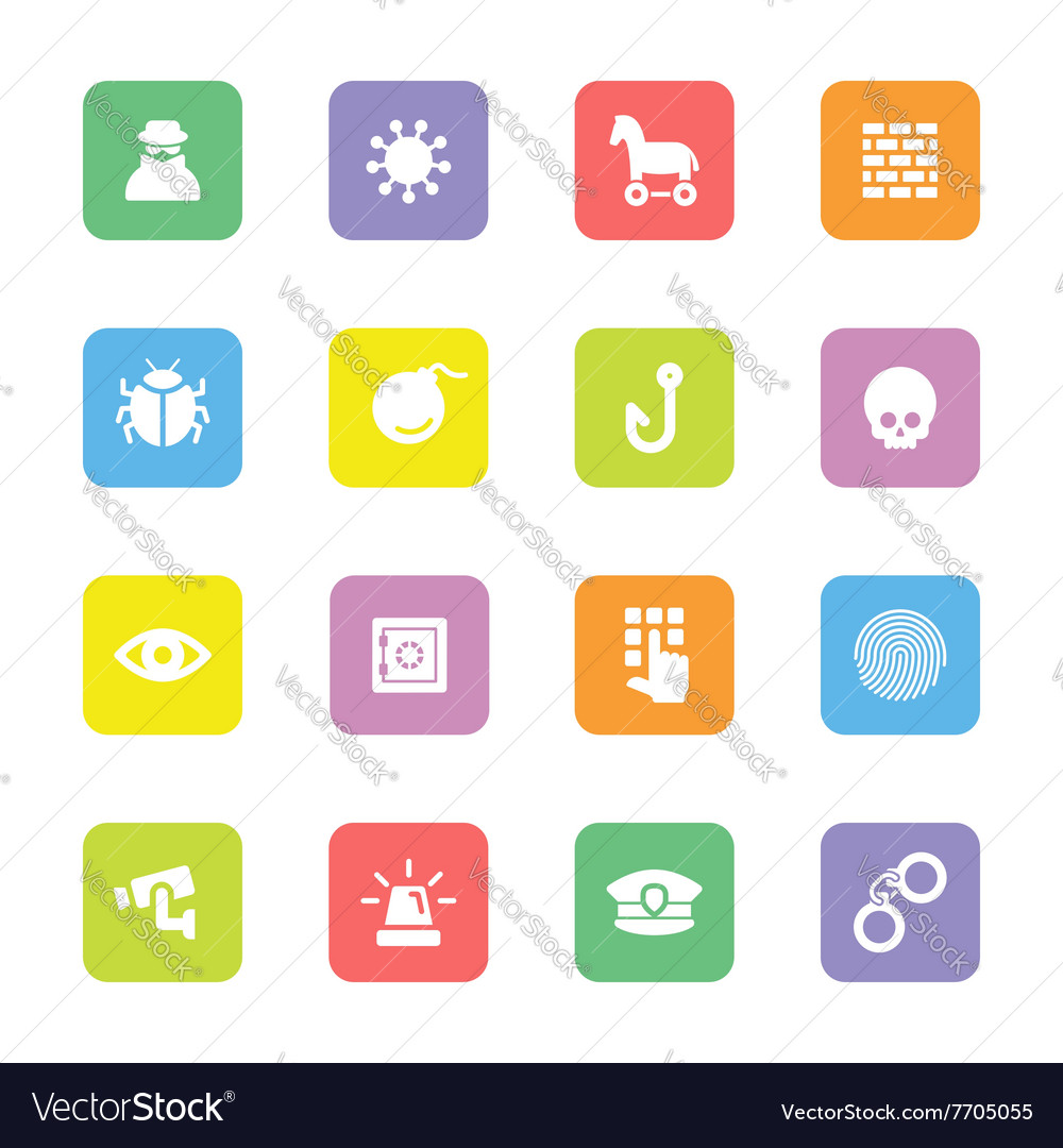 Colorful flat icon set 7 on rounded rectangle vector