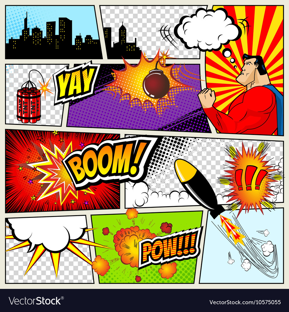 Comics template retro comic book speech vector