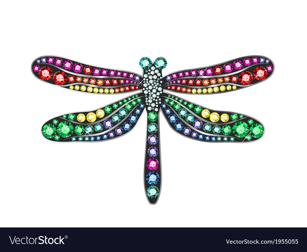 Gem dragonfly vector