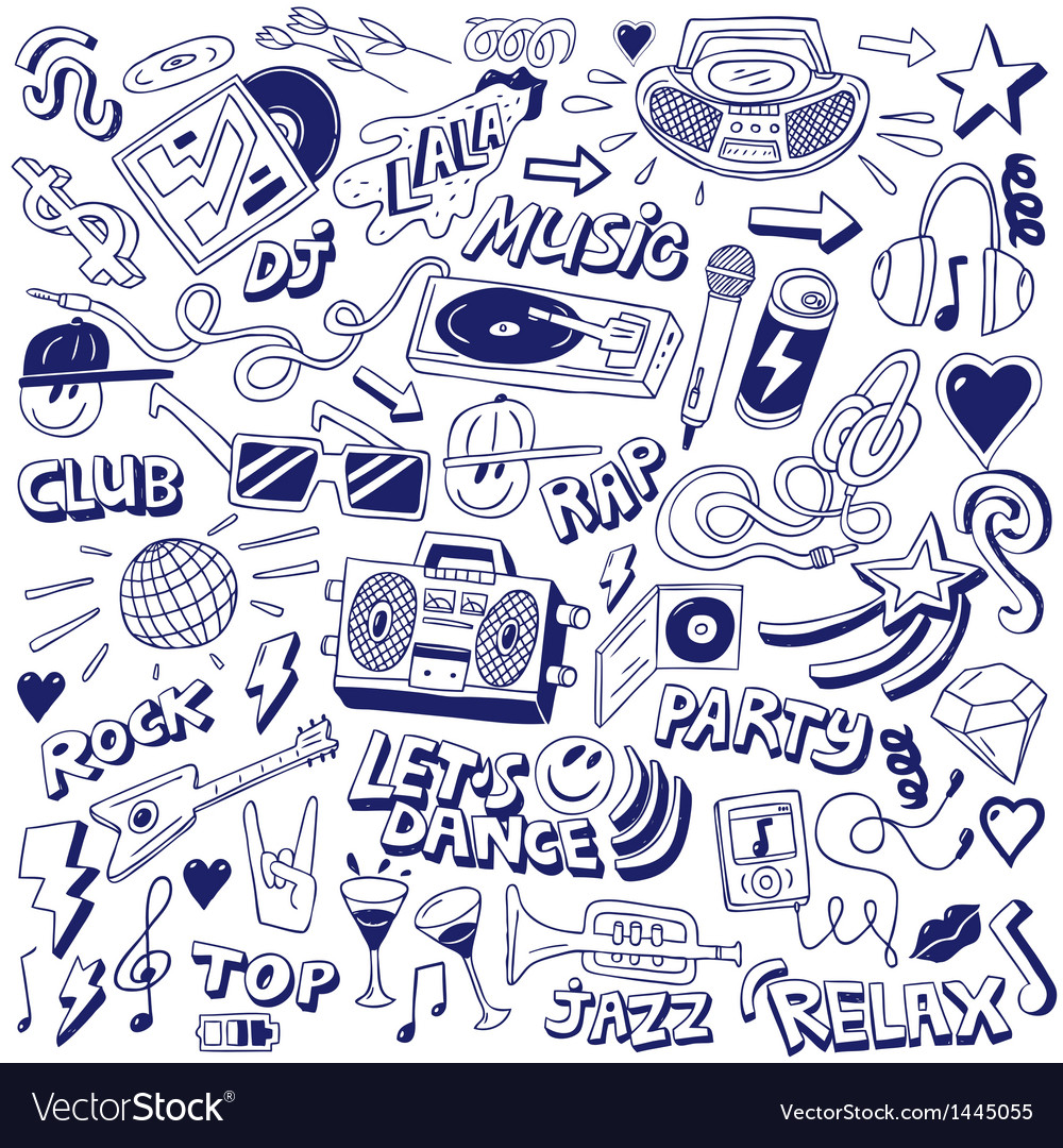 Music party  doodles vector