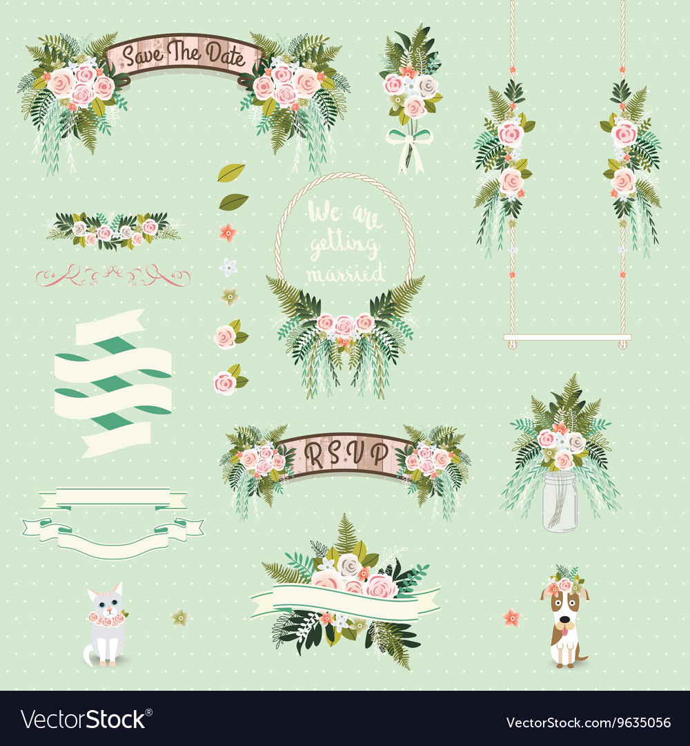 Vintage wedding floral decorative and ornaments vector