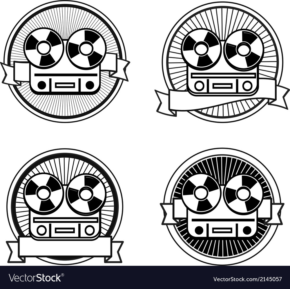 Black and white reel tape recorder stamp vector