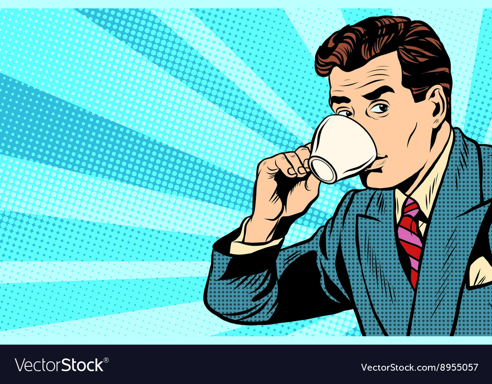 Businessman and cup of coffee vector