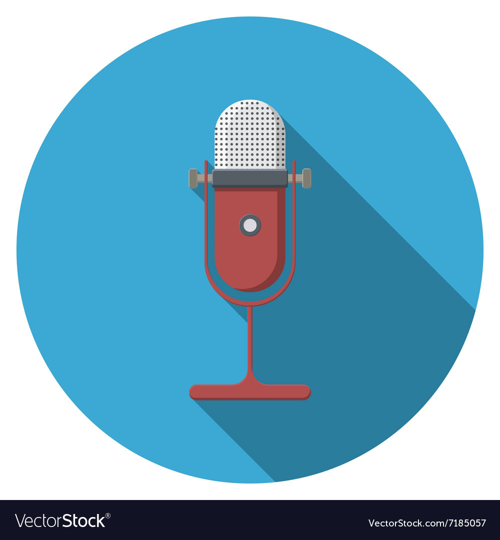 Flat design microphone icon with long shadow vector