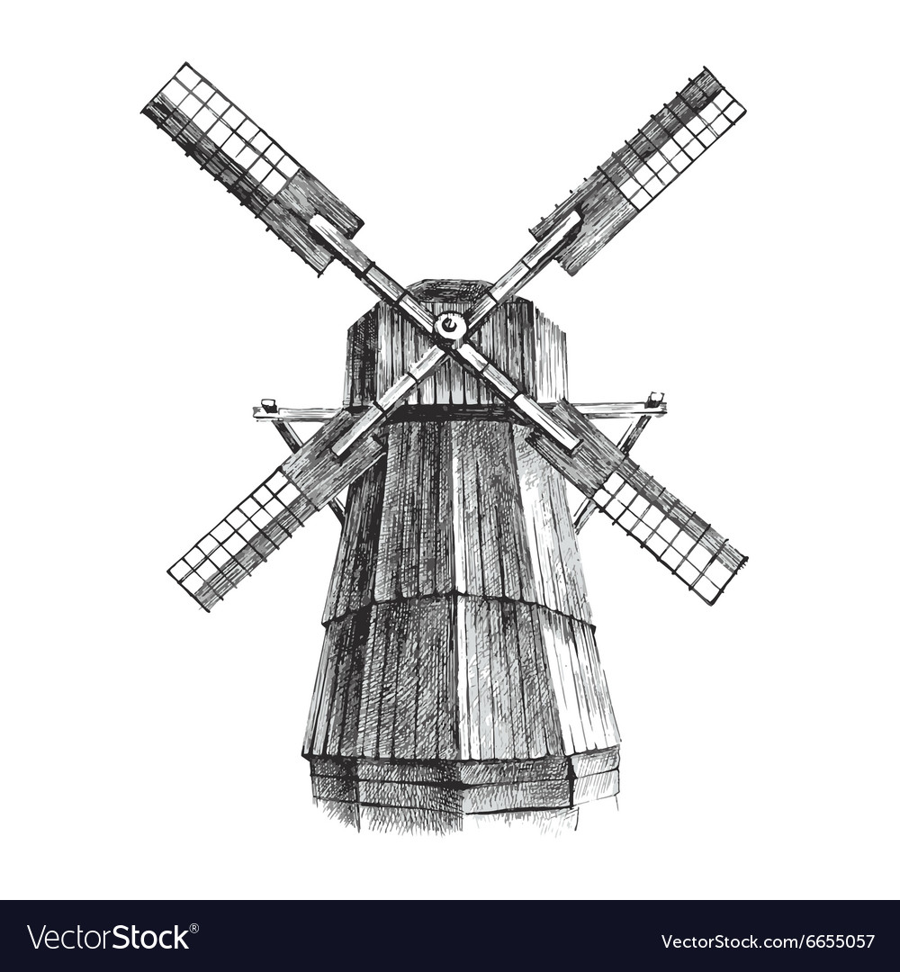 Hand drawn mill vector