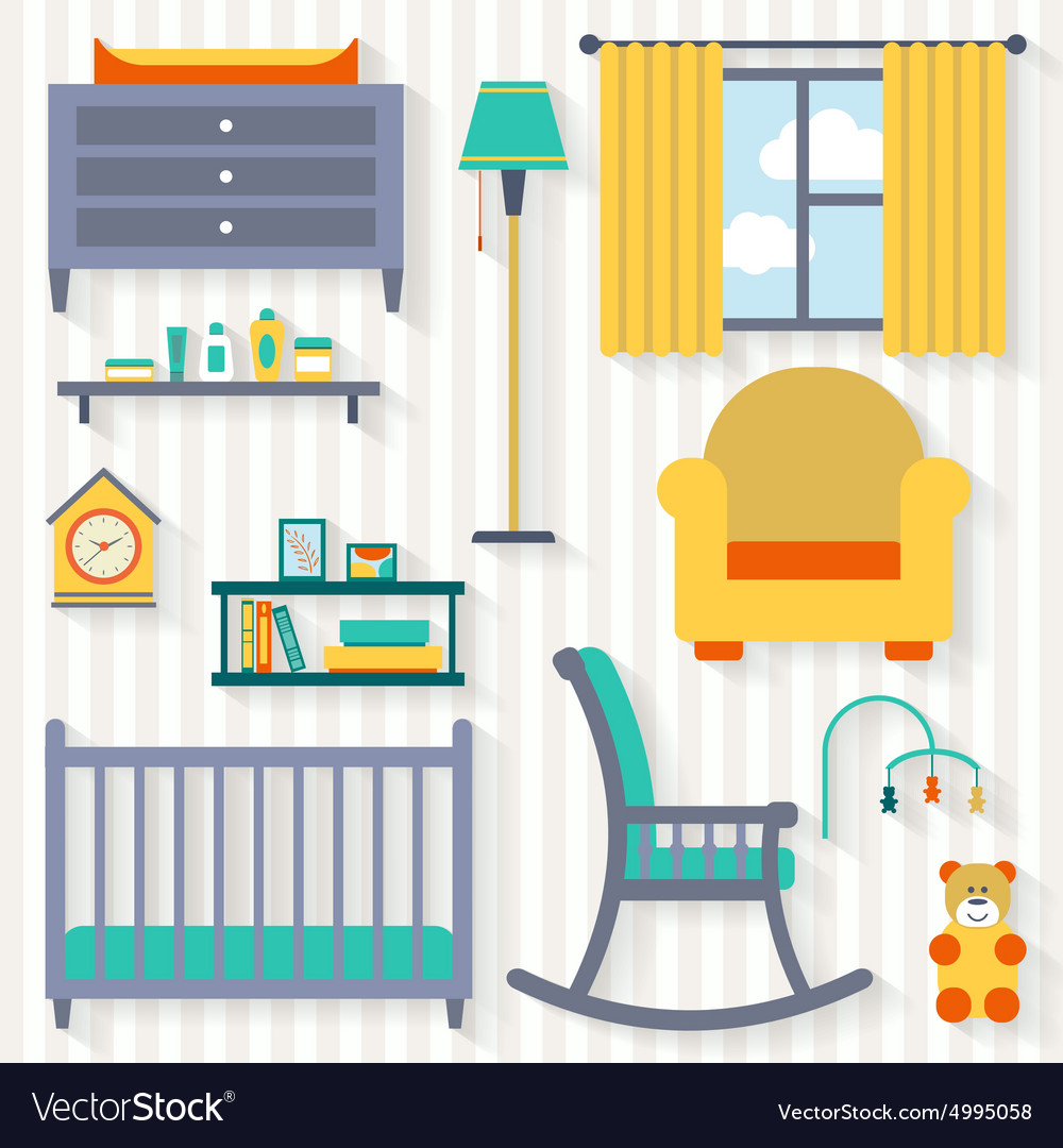 Baby room with furniture vector