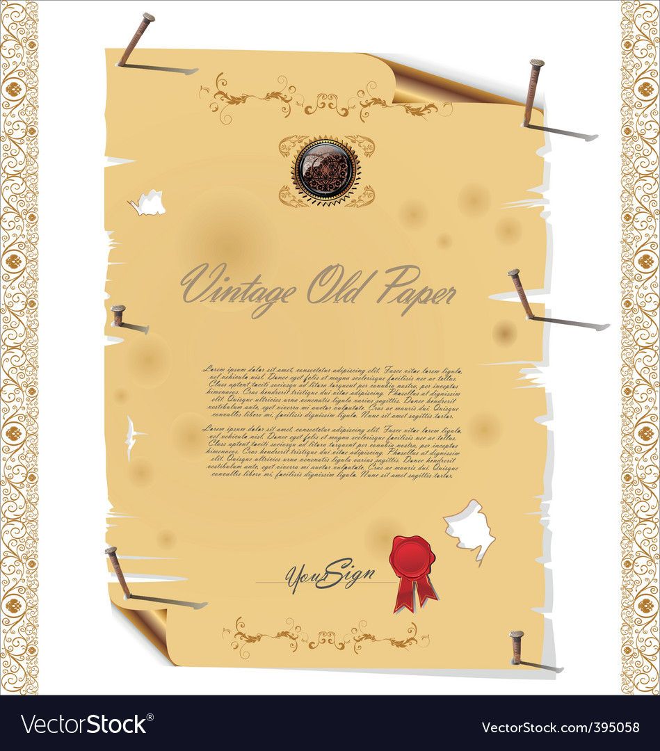 Vintage old paper with nail vector