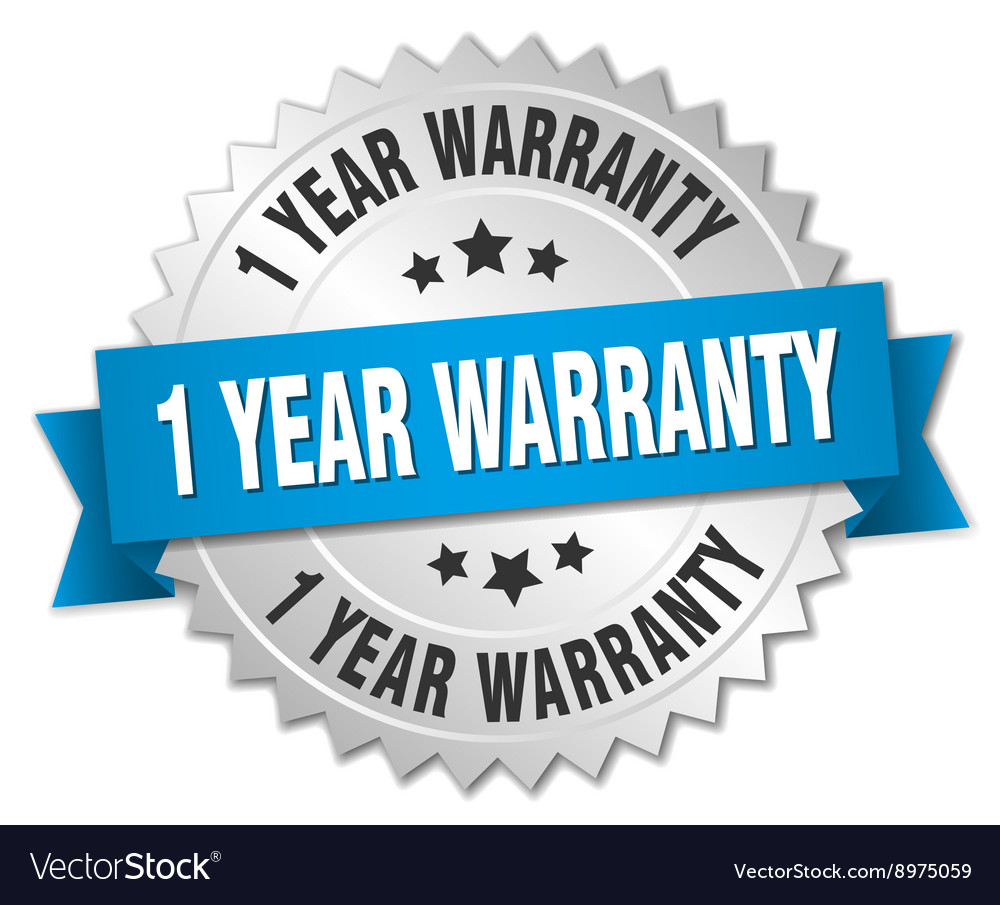 1 year warranty 3d silver badge with blue ribbon vector