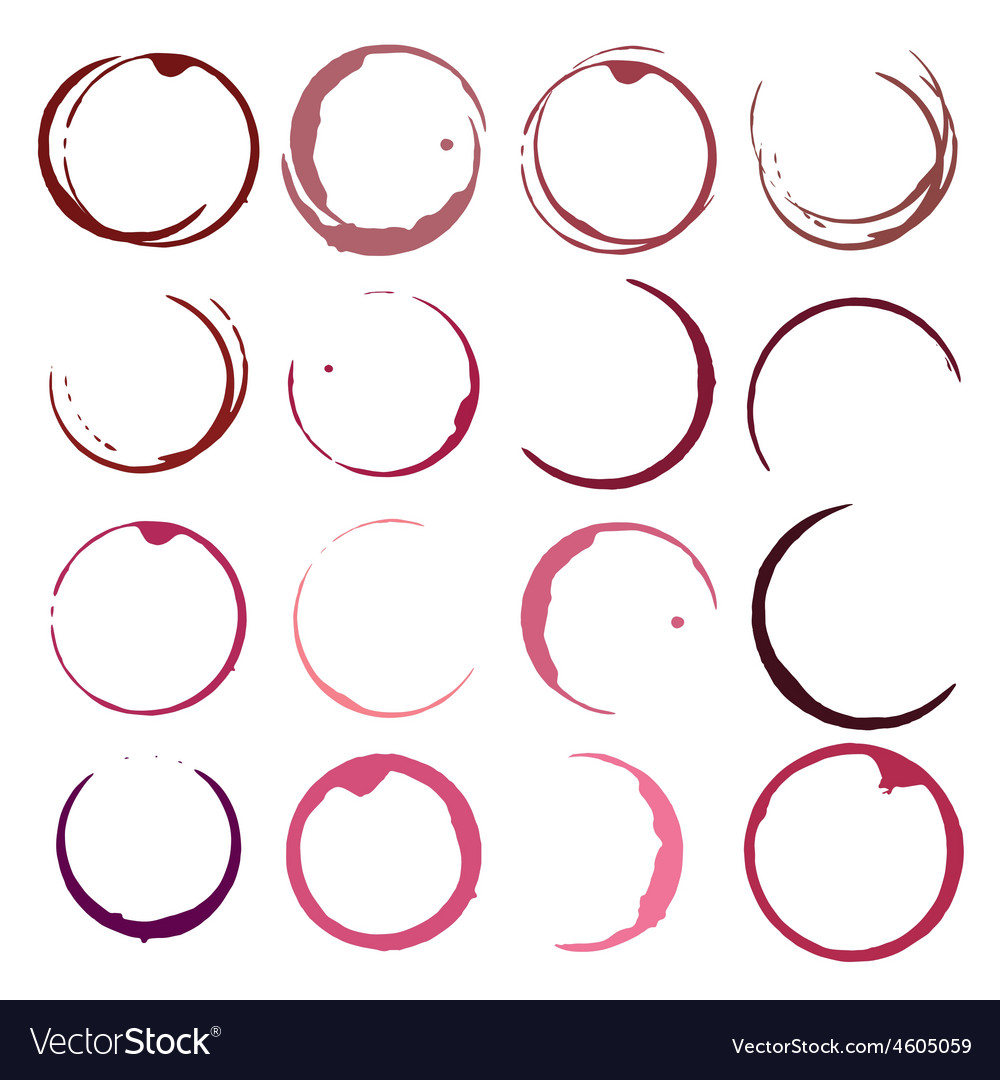 Set of wine stains red wine stain circles vector