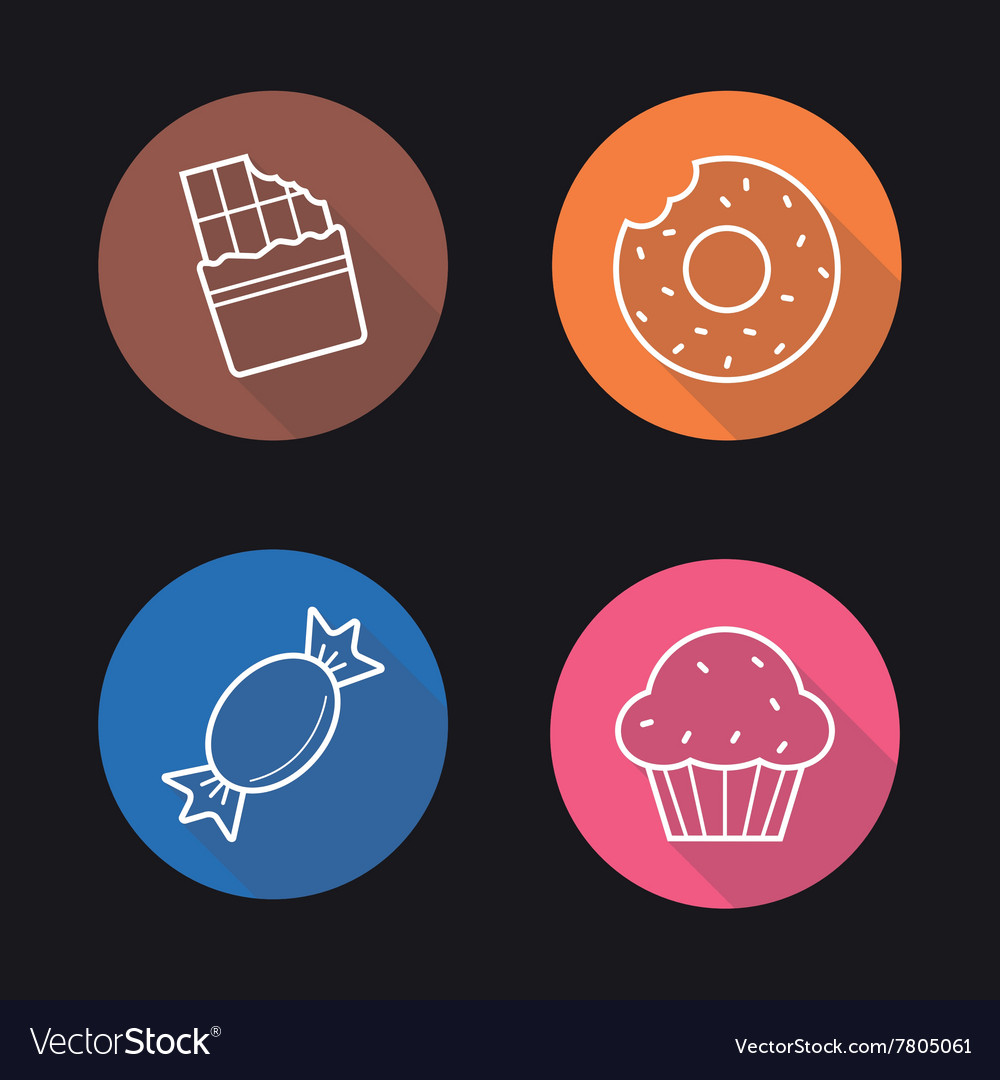 Confectionery flat linear icons set vector