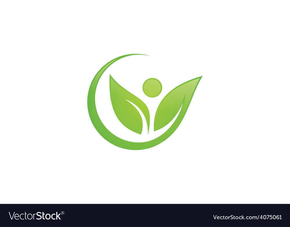 Leaf people nature ecology logo vector