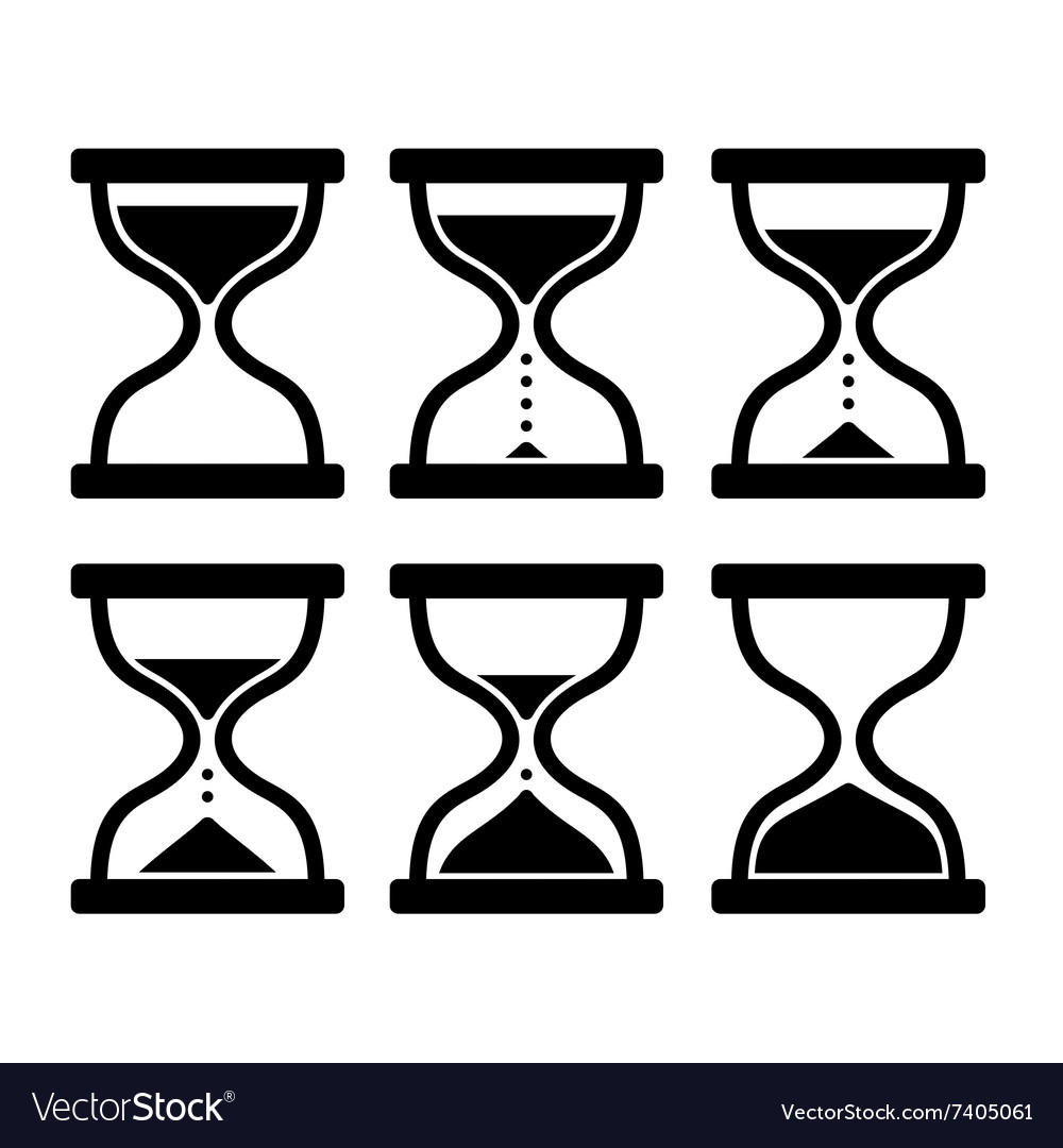 Sand clock set glass timer on white background vector