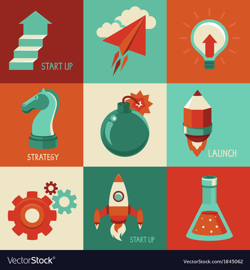 Start up icons vector