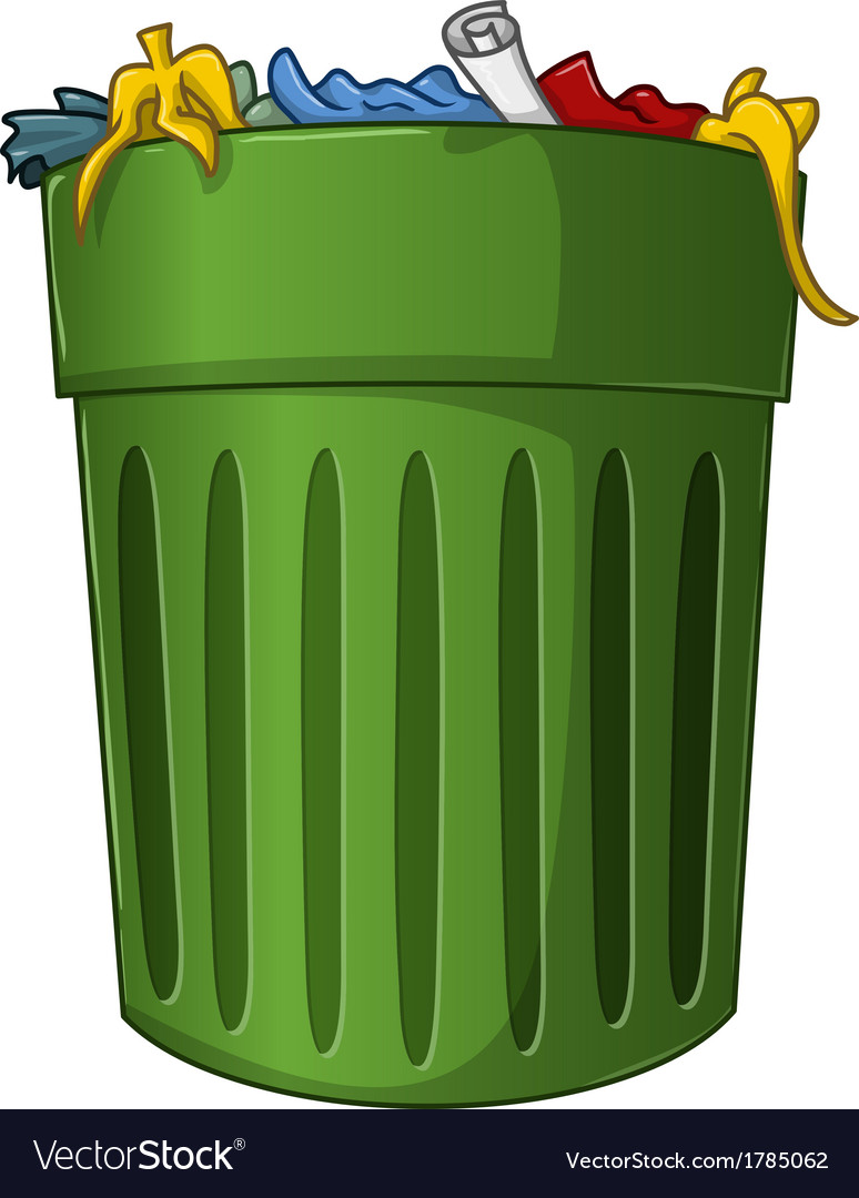 Trash can with trash inside vector
