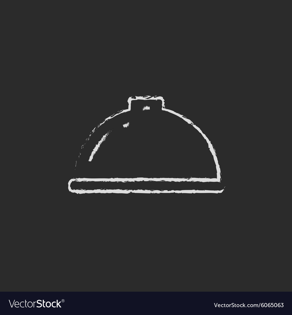 Restaurant cloche icon drawn in chalk vector