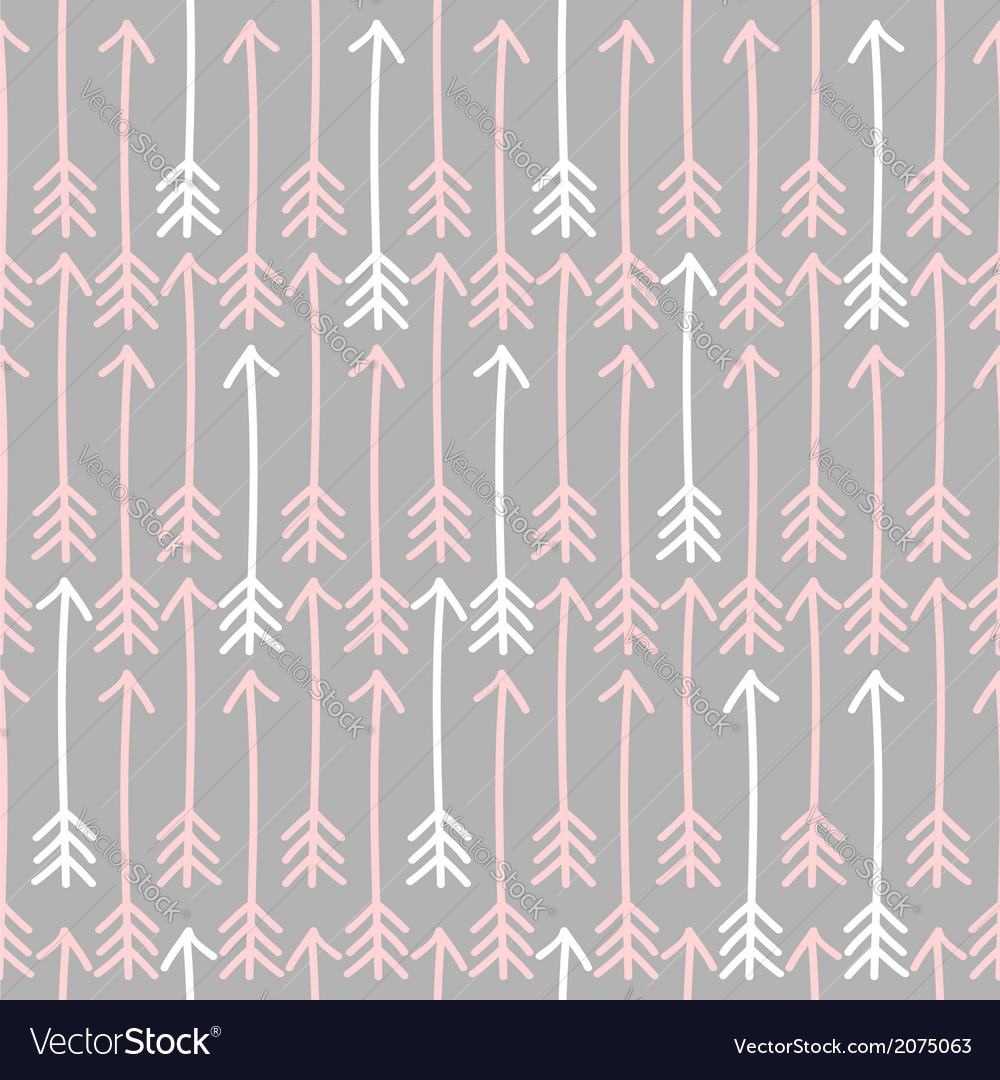 Seamless arrow pattern in gray pink and white vector