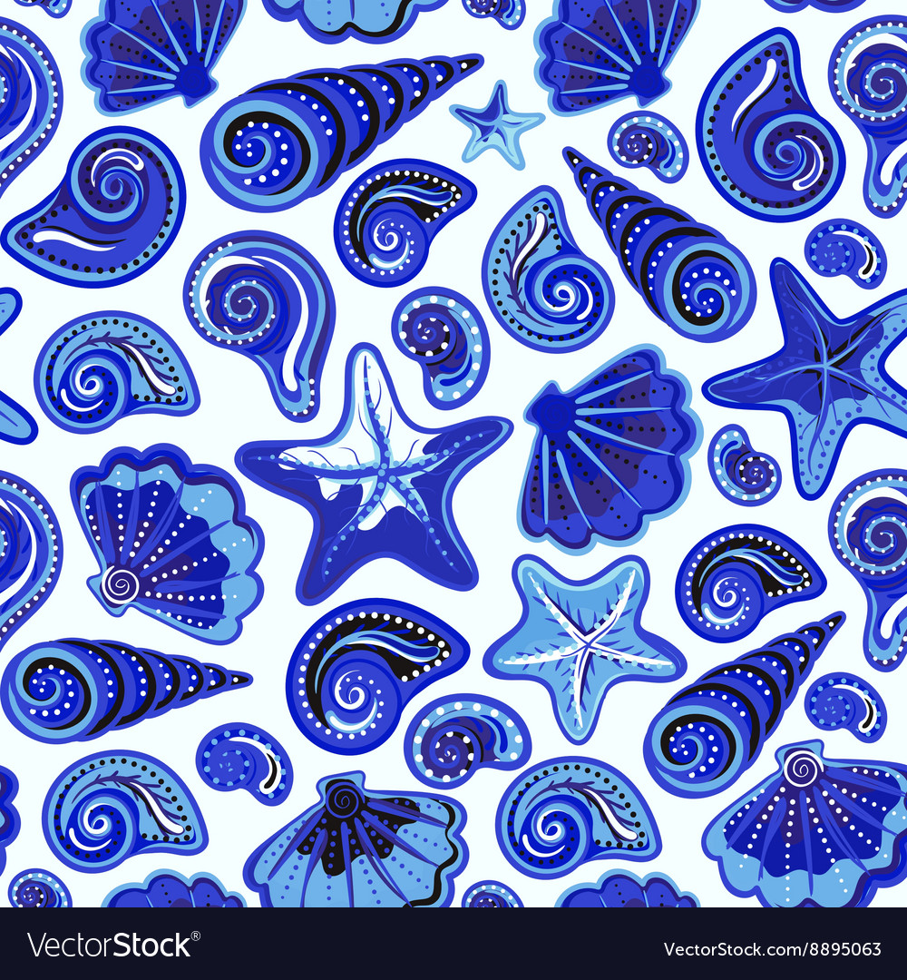 Seamless pattern with sea shells and starfish in vector