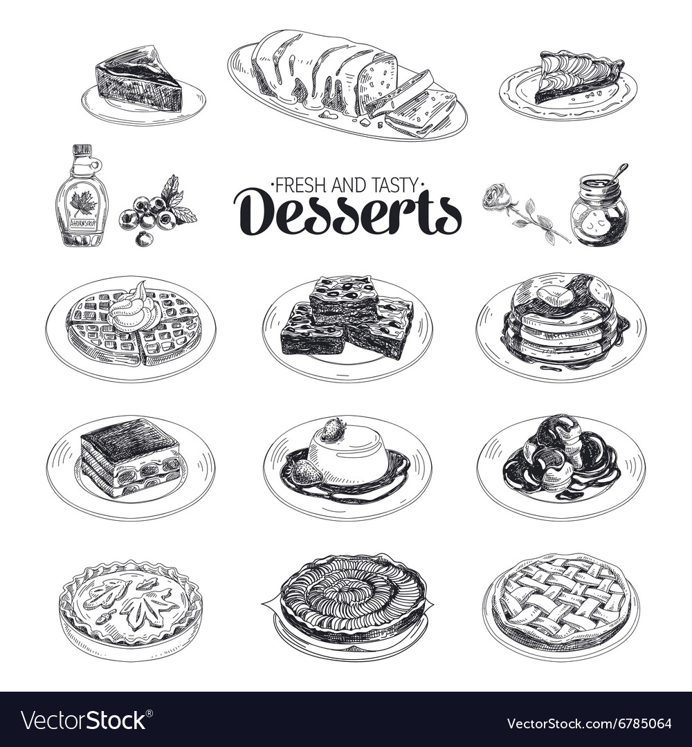 Hand drawn sketch restaurant desserts set vector