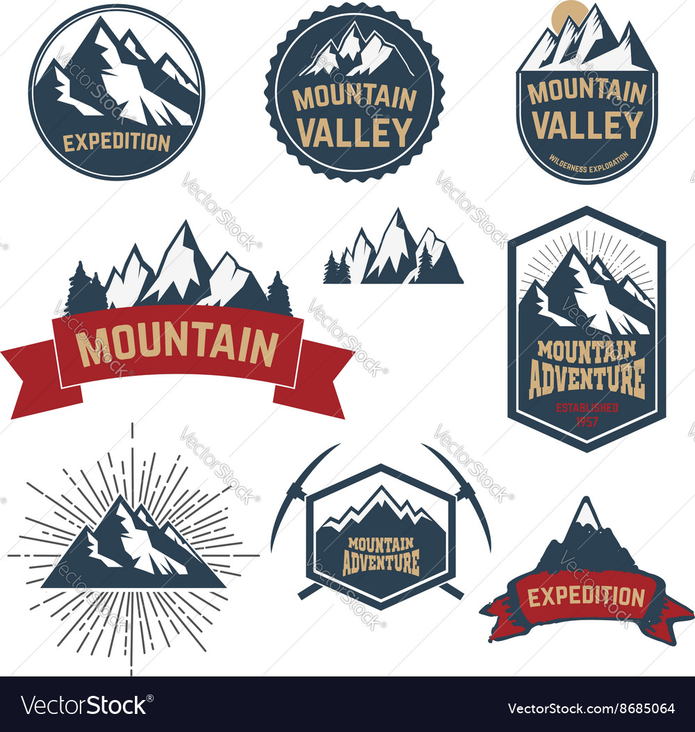 Set of adventure expedition mountain labels and vector