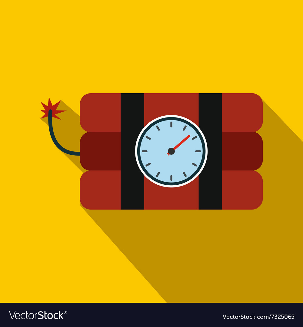 Bomb with clock timer flat icon vector