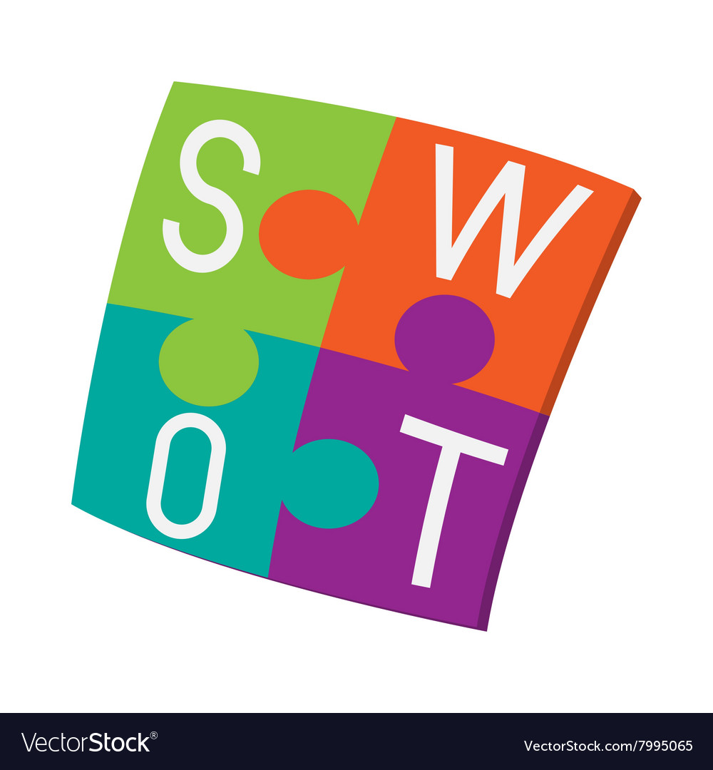 Four pieces colorful swot puzzle icon vector
