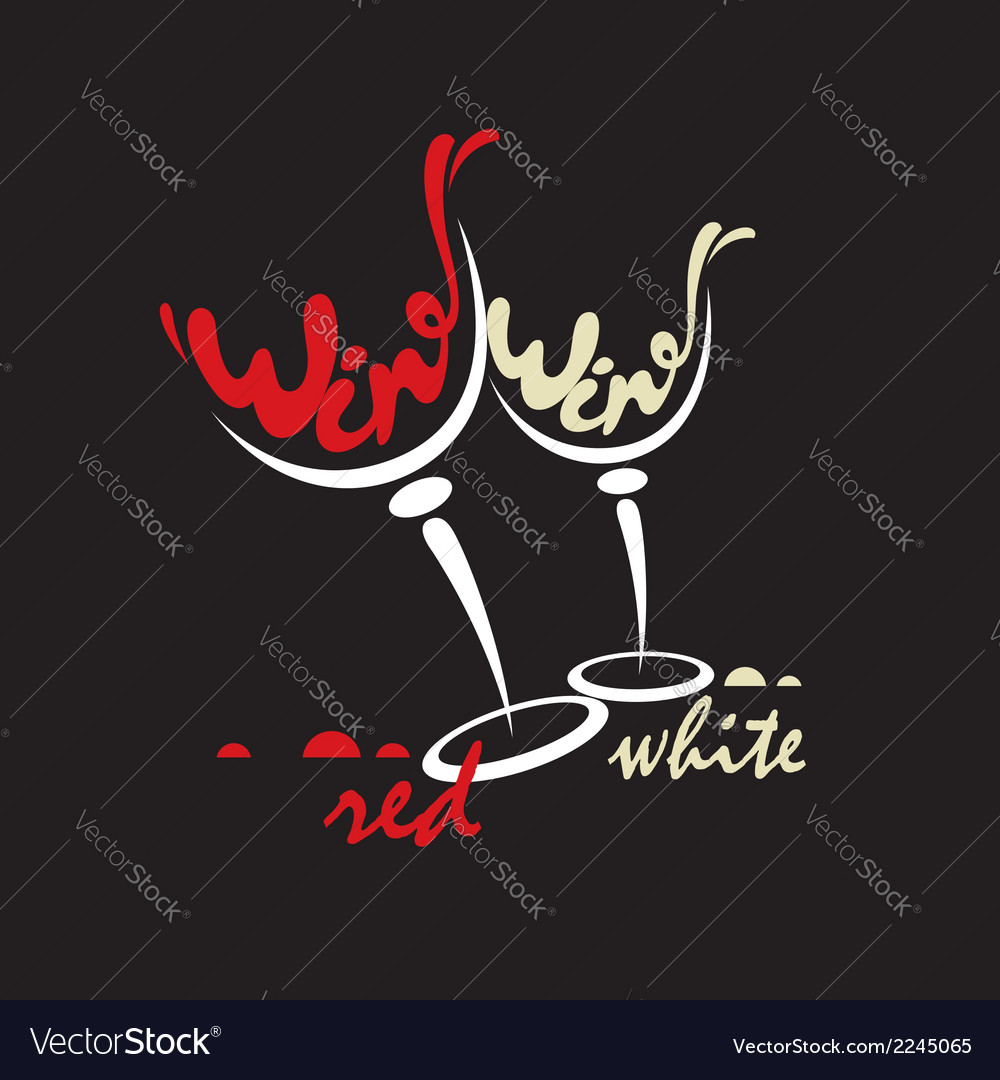 Glasses with red and white wine vector