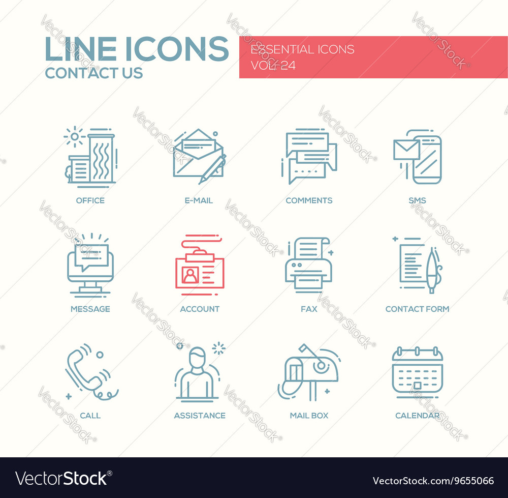 Contact us  line design icons set vector