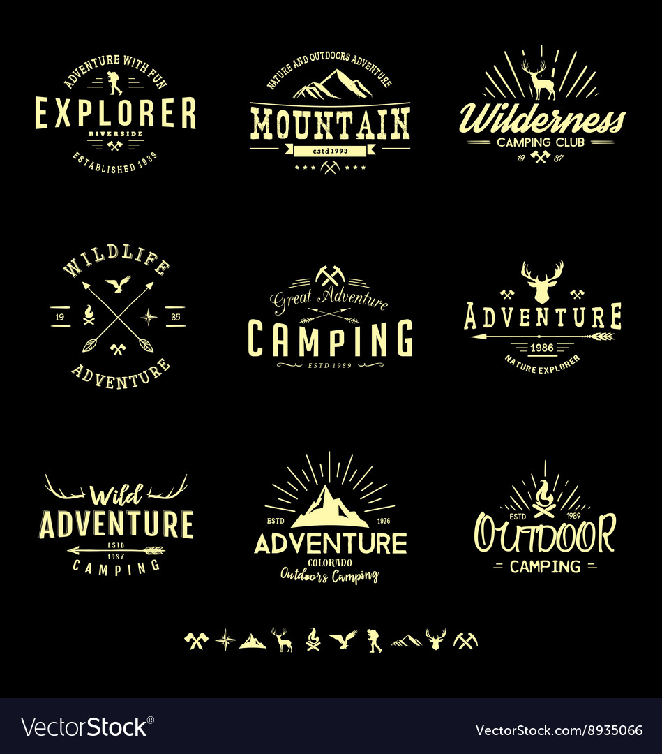 Outdoors adventure badges vector