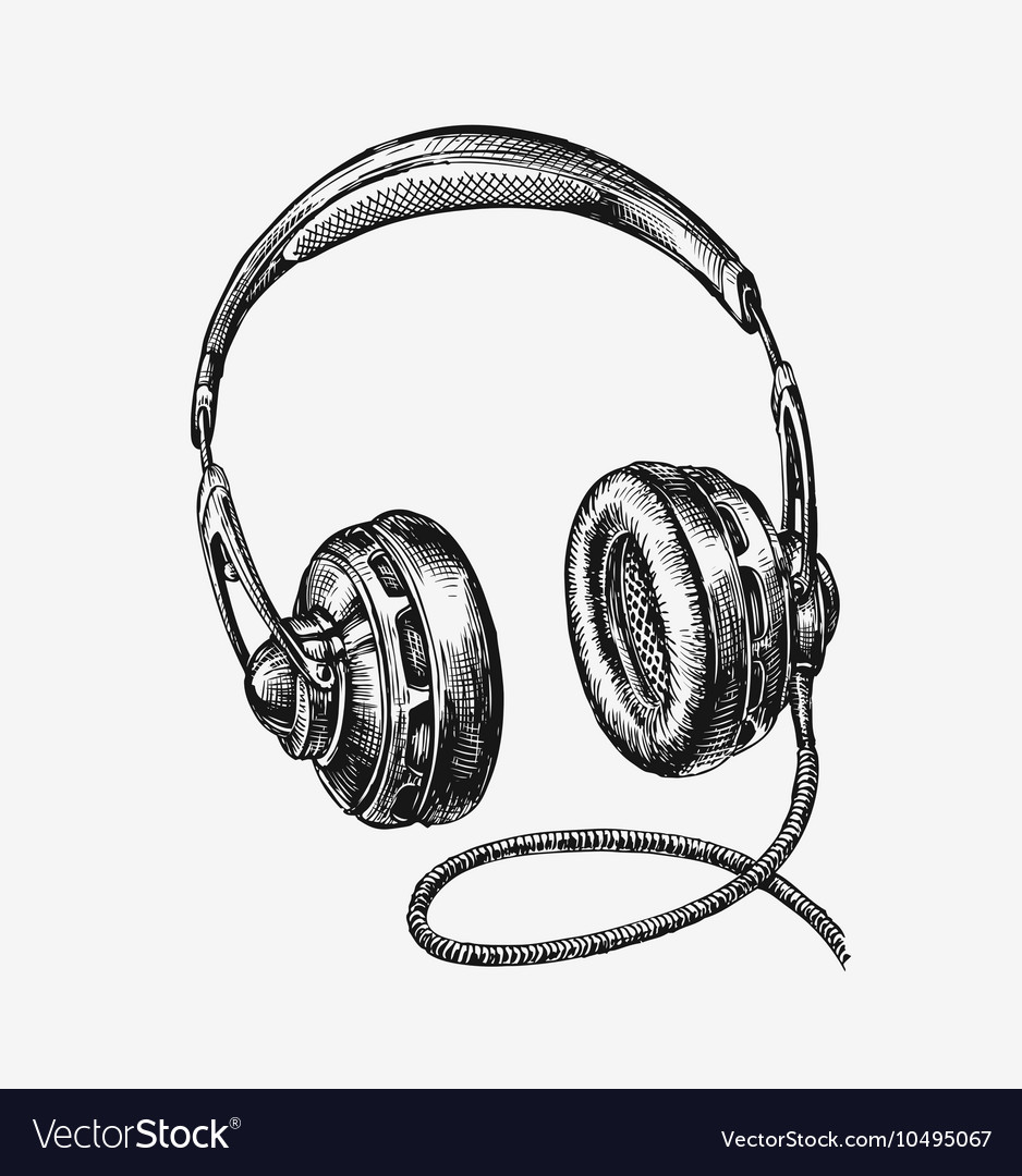 Handdrawn vintage headphones sketch music vector