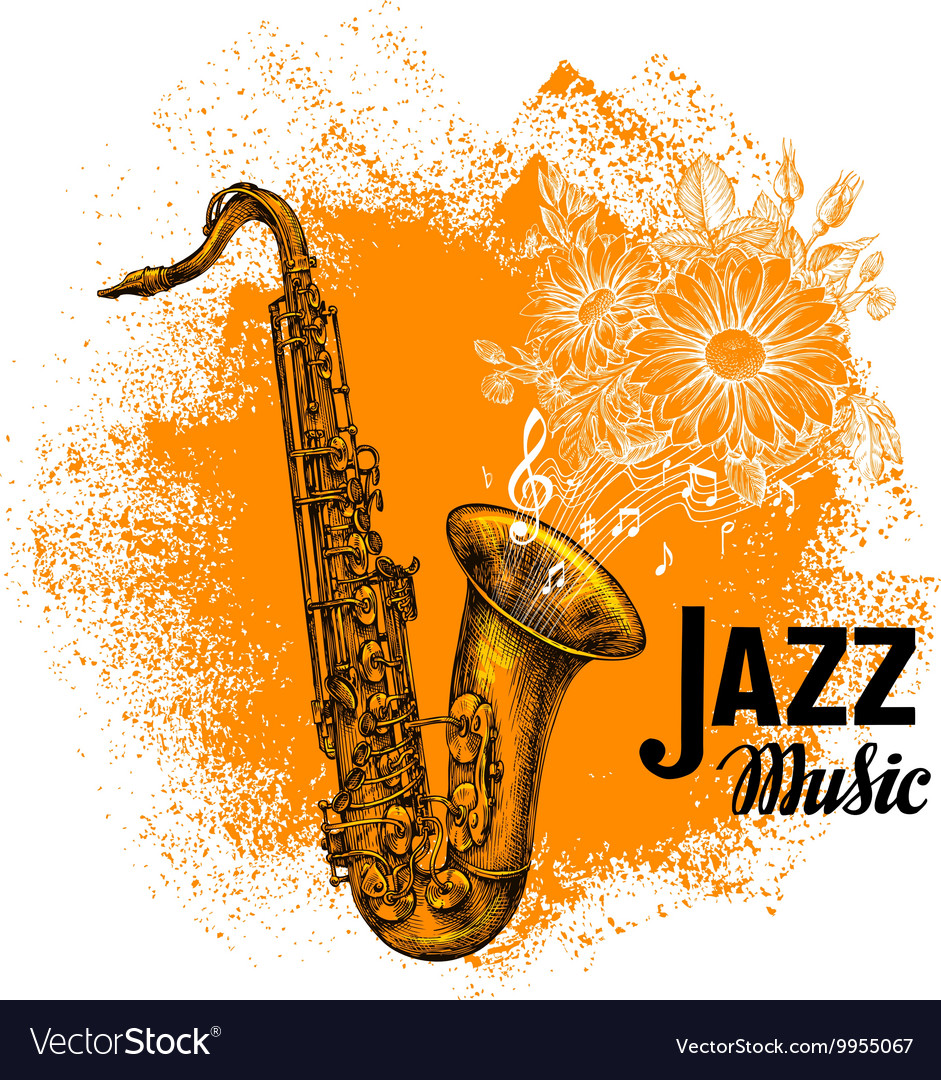 Jazz music classical saxophone with musical notes vector