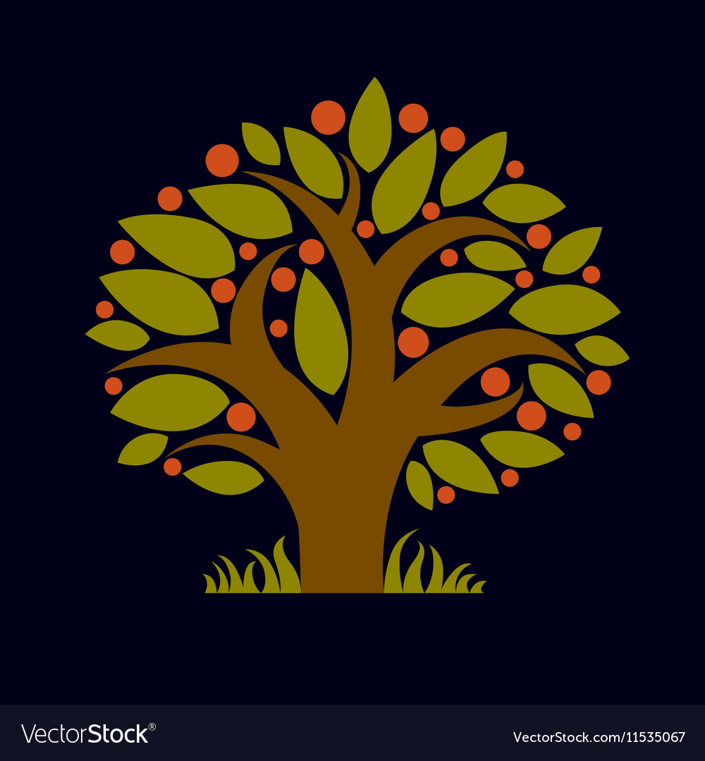 Tree with ripe apples harvest season theme fruitf vector