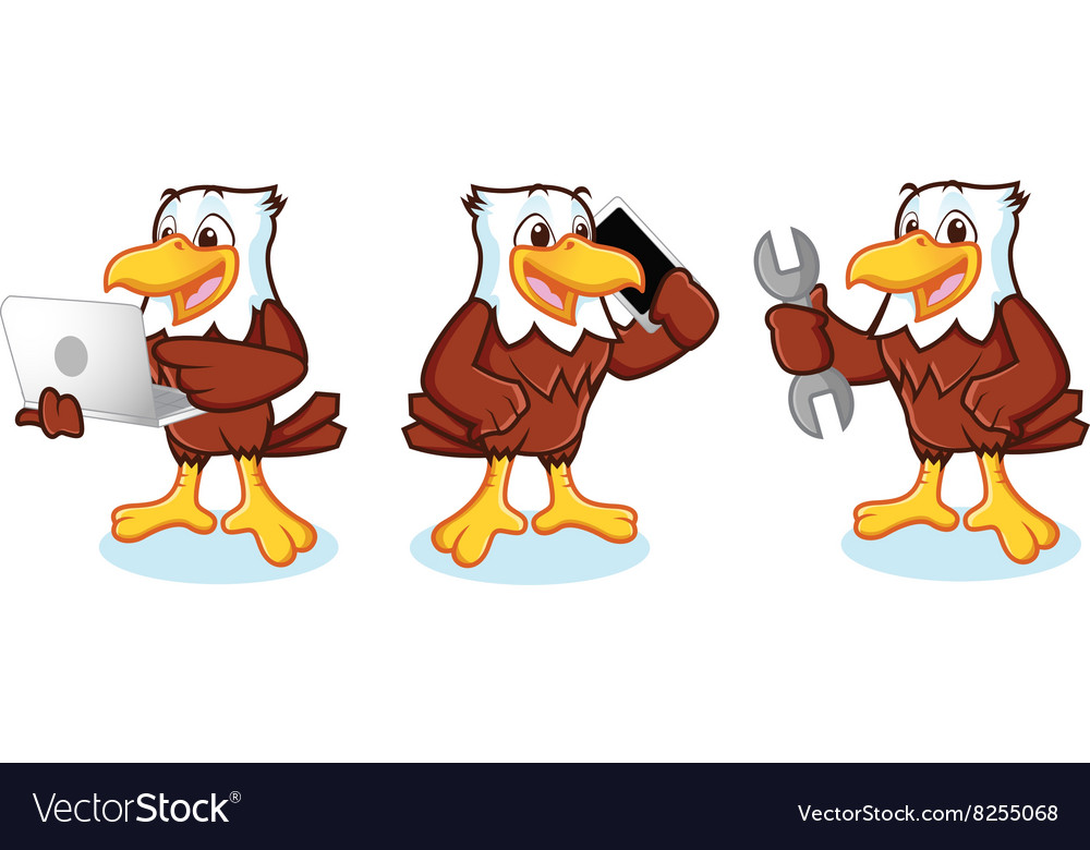 Eagle mascot with phone vector