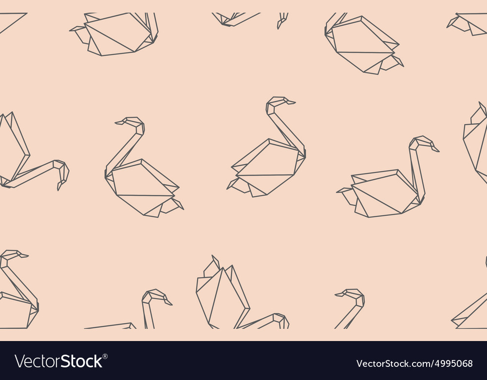 Japanese birds origami ornament vector
