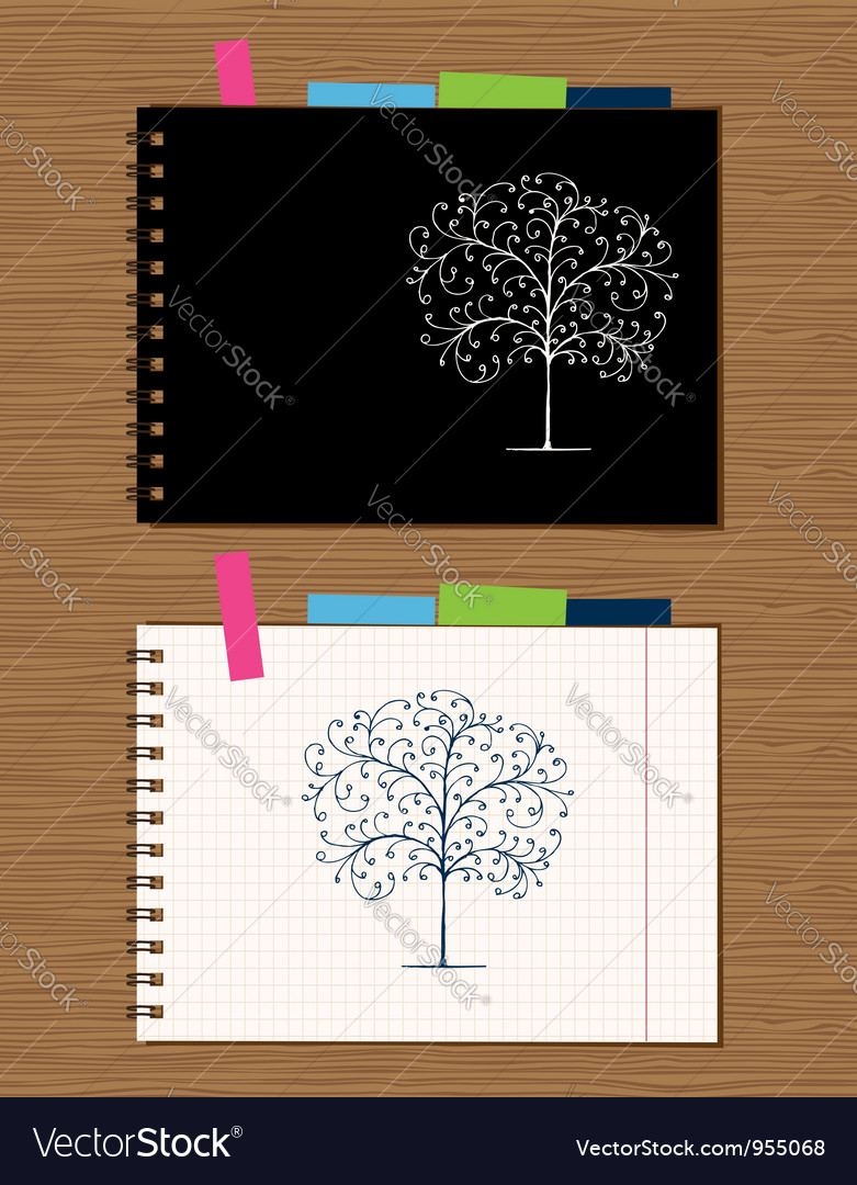 Notebook cover and page design on wooden backgroun vector