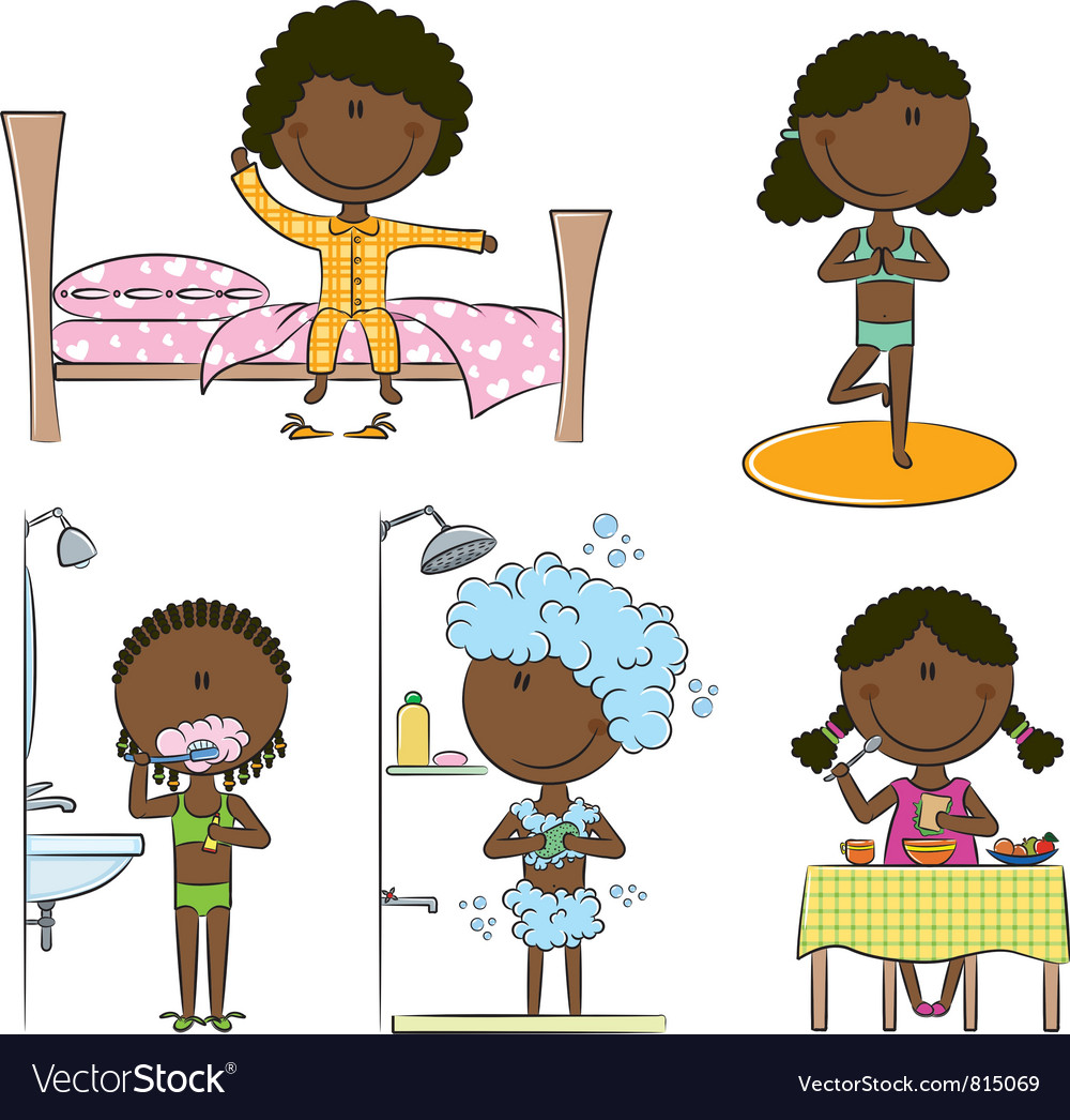 Daily morning africanamerican girls life vector