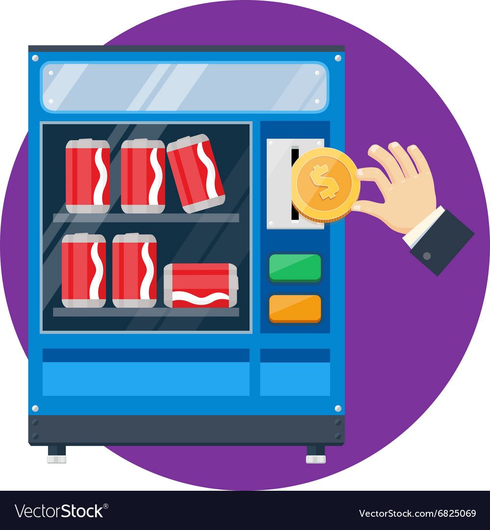 Vending machine with hand drop gold dollar vector
