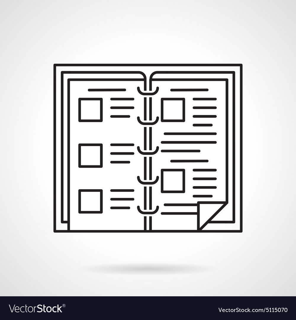 Book menu black line icon vector