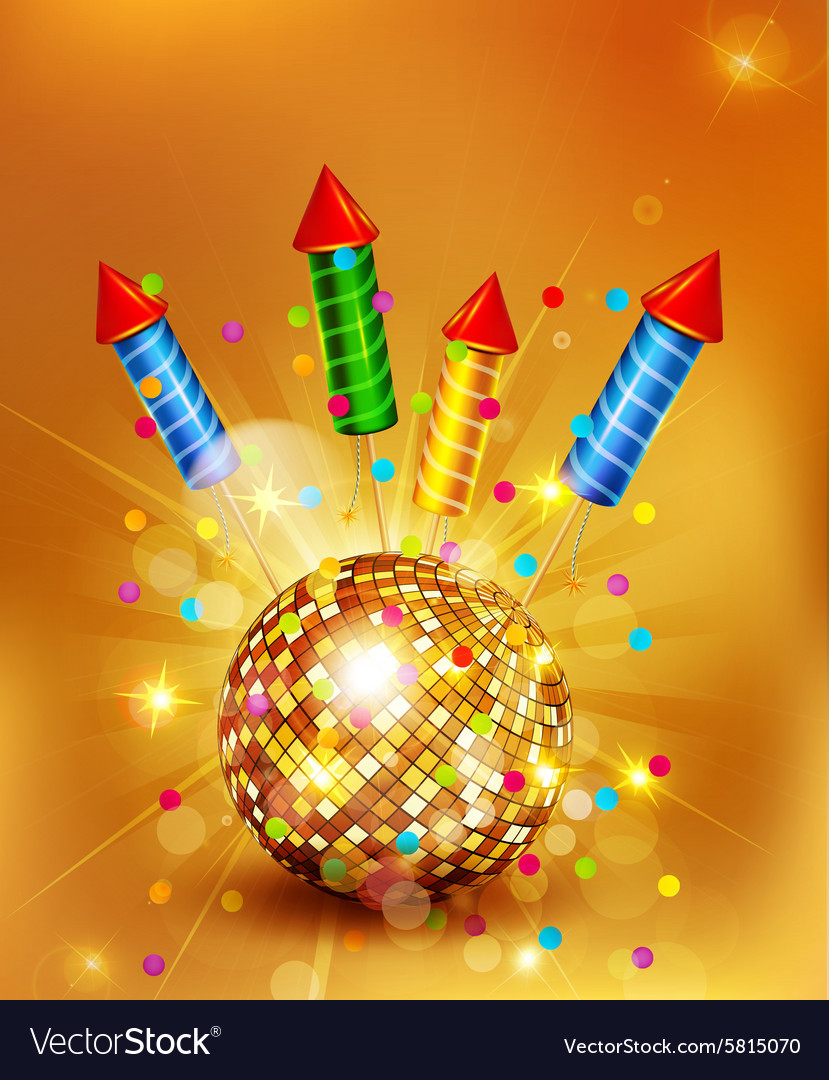 Festive background with glass disco ball and firec vector