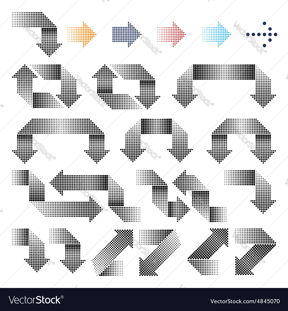 Halftone arrows icons set vector