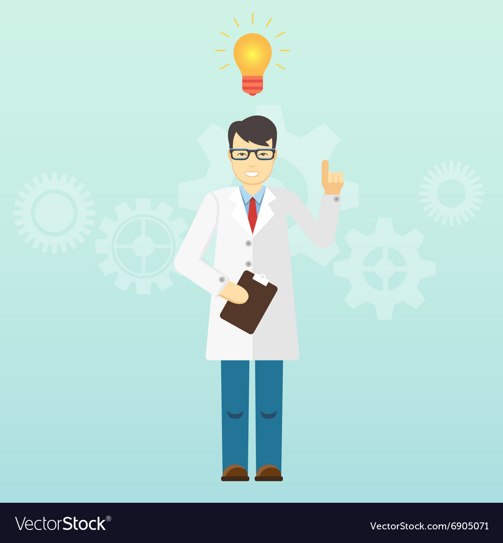 Young scientist professor got an idea startup vector