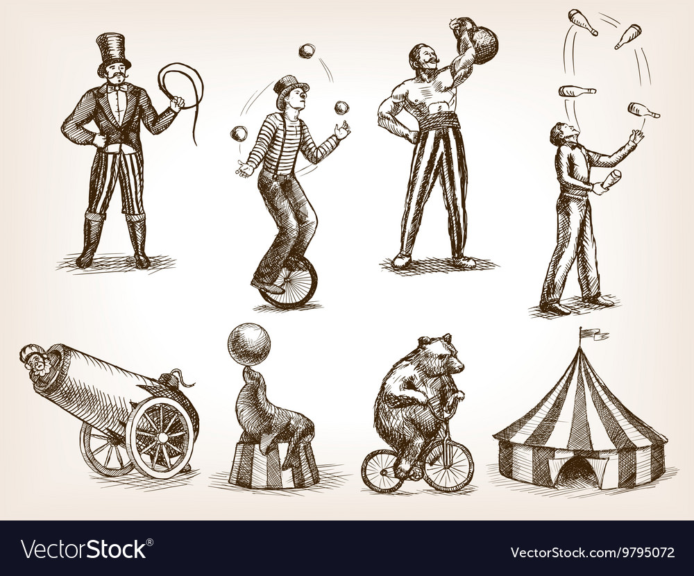 Retro circus performance set sketch vector
