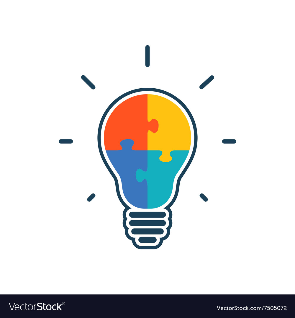 Simple flat light bulb icon vector